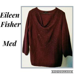 EILEEN FISHER Maroon Wool Sweater w/glass beading